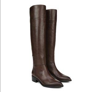 Franco Sarto Daya Leather Studded Tall Boots Brown